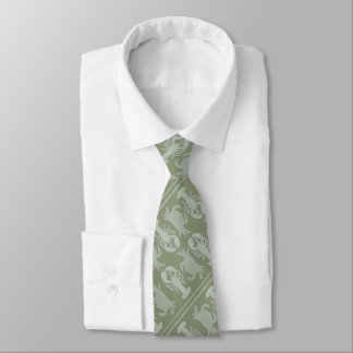 Sage Green Lobster and Crab Crustacean Pattern Tie