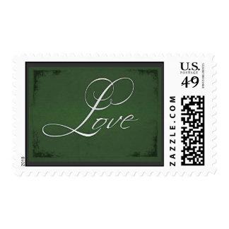 Sage green Love postage stamp