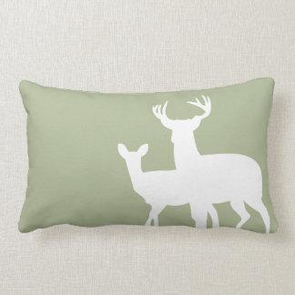Sage Green Male Female Deer Throw Pillows