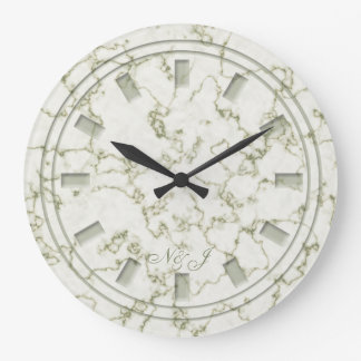 Sage green marble effect customised wall clock