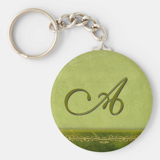 Sage green monogram - customize your own keychain