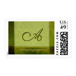 Sage green monogram - customize your own postage stamp