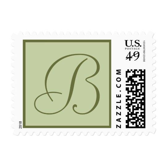 Sage Green Monogrammed Custom Postage Stamp