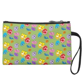 Sage Green Multi Rainbow Mini Scatter Flowers Suede Wristlet Wallet