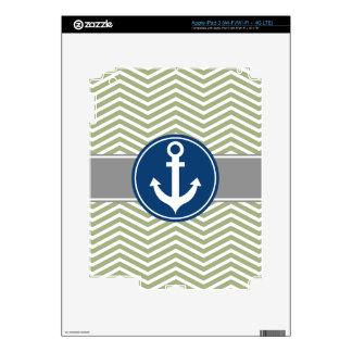 Sage Green Nautical Anchor Chevron iPad 3 Skin