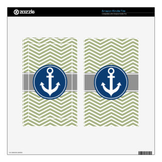 Sage Green Nautical Anchor Chevron Kindle Fire Decal