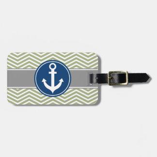 Sage Green Nautical Anchor Chevron Luggage Tag