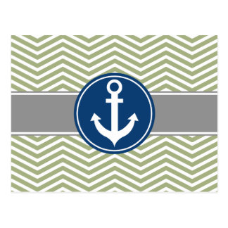 Sage Green Nautical Anchor Chevron Postcard