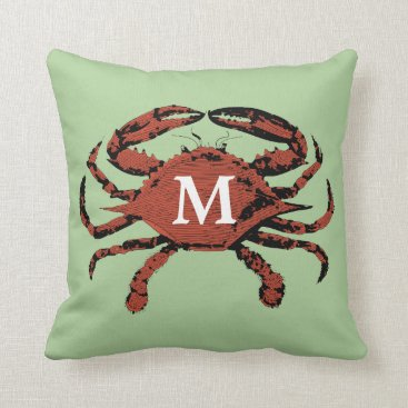 Beach Themed Sage Green Nautical Crab | Unique Monogram Pillows