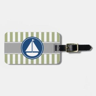 Sage Green Nautical Sailboat Stripes Bag Tag