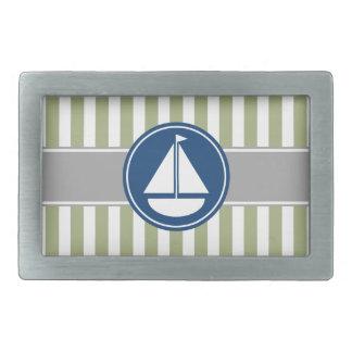 Sage Green Nautical Sailboat Stripes Belt Buckle