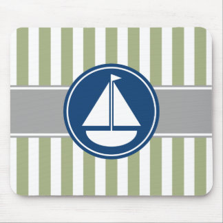 Sage Green Nautical Sailboat Stripes Mouse Pad