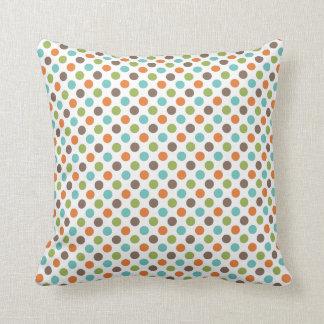 Sage Green, Orange, Teal, and Brown Polka Dots Throw Pillows