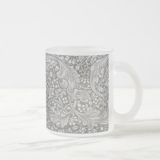 Sage Green Page Border Frosted Glass Coffee Mug