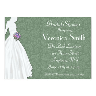 Sage Green Paisley Bridal Shower Personalized Announcement