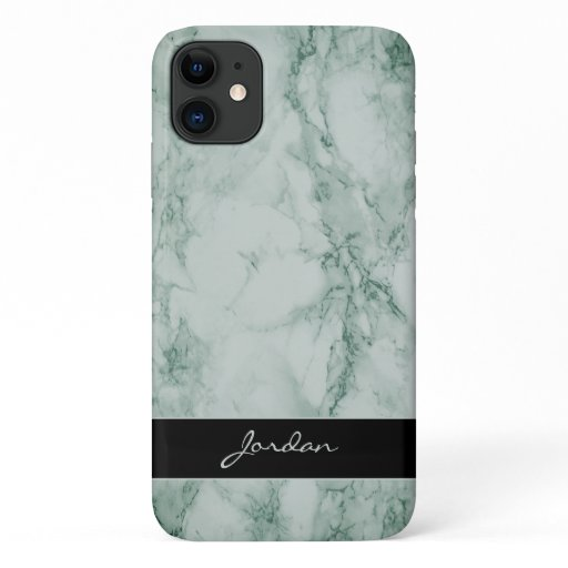 Sage Green Polished Marble Stone with Name iPhone 11 Case
