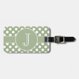 Sage Green Polka-Dot Monogrammed Luggage Tag