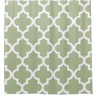 sage green quatrefoil pattern shower curtain