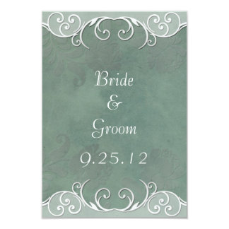 Sage Green Rose and White Wedding Save the Date Card