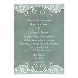 Sage Green Rose Pattern Wedding Invitations