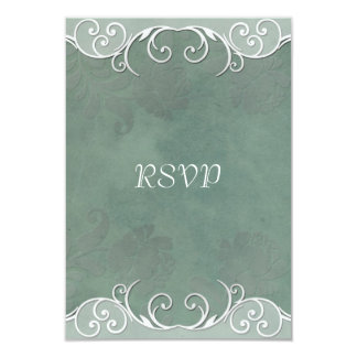 Sage Green Rose Wedding RSVP Notes Card