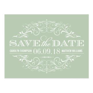 Sage Green Save the Date | Swirl and Flourish Postcard