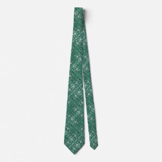 Sage green scrollwork pattern neck tie