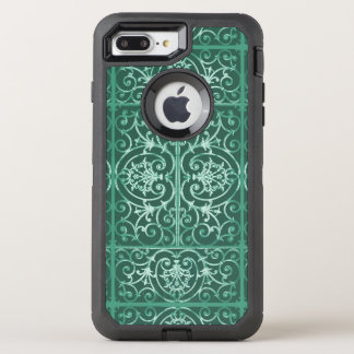 Sage green scrollwork pattern OtterBox defender iPhone 7 plus case