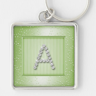 Sage Green Shimmer and Sparkle with Monogram Keychain