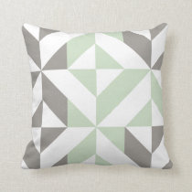 Sage Green & Silver Geometric 2-Sided Pattern Throw Pillow