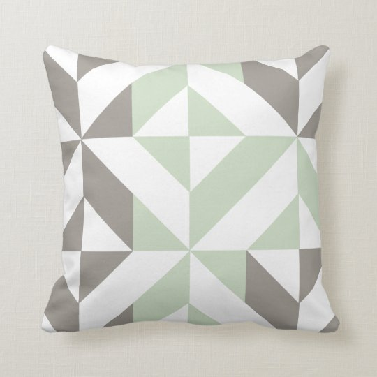 Sage Green Amp Silver Geometric 2 Sided Pattern Throw Pillow