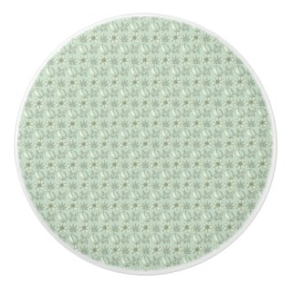 Sage Green Small Floral Print Ceramic Knob