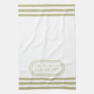 Sage Green Sporty Stripes Pattern Monogram Kitchen Towel