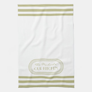 Sage Green Sporty Stripes Pattern Monogram Kitchen Towels