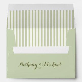SAGE GREEN Striped Damask Invite Envelope V20