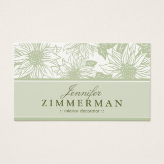 Sage Green Sunflowers Floral Business Card