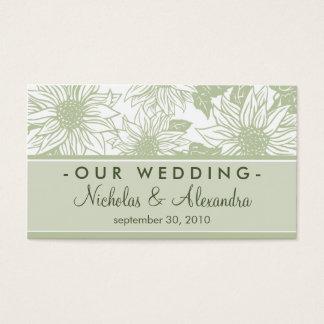 Sage Green Sunflowers Wedding Website Card
