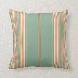 Sage Green, Tan and White Stripes on a Pillow