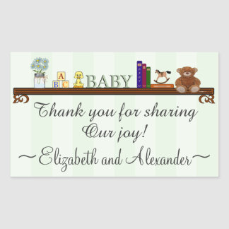 Sage Green Thank You For Sharing Our Joy Baby Rectangular Sticker