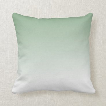 sterlingnights Sage Green to White Ombre Throw Pillow