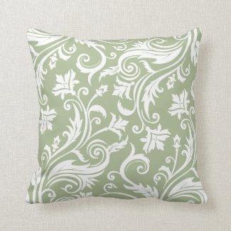 Sage Green Vintage Damask Pattern Throw Pillow