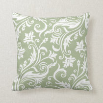 Sage Green Vintage Damask Pattern Throw Pillow