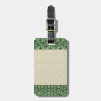 Sage Green Vintage Geometric Floral Pattern Bag Tag