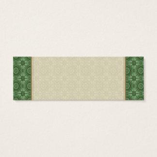 Sage Green Vintage Geometric Floral Pattern Mini Business Card