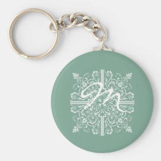 Sage Green Vintage Monogram Business Keychain