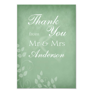 Sage Green Vintage Thank You 3.5x5 Paper Invitation Card