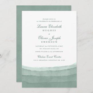 Sage Green Watercolor Wedding Invitations