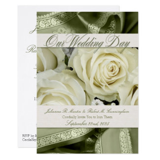 Sage Green Wedding Invitation Elegant White Roses