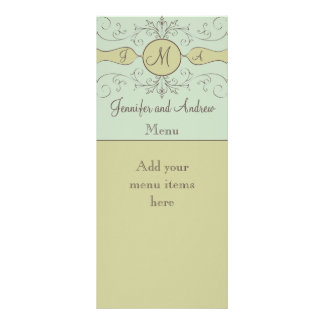 Sage Green Wedding Reception Menu Cards