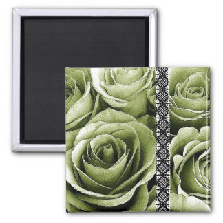 SAGE GREEN Wedding Rose Bouquet with Lace Fridge Magnet